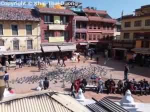 Boudha als Ort der Entspannung inmitten der hektischen Hauptstadt Kathmandu.