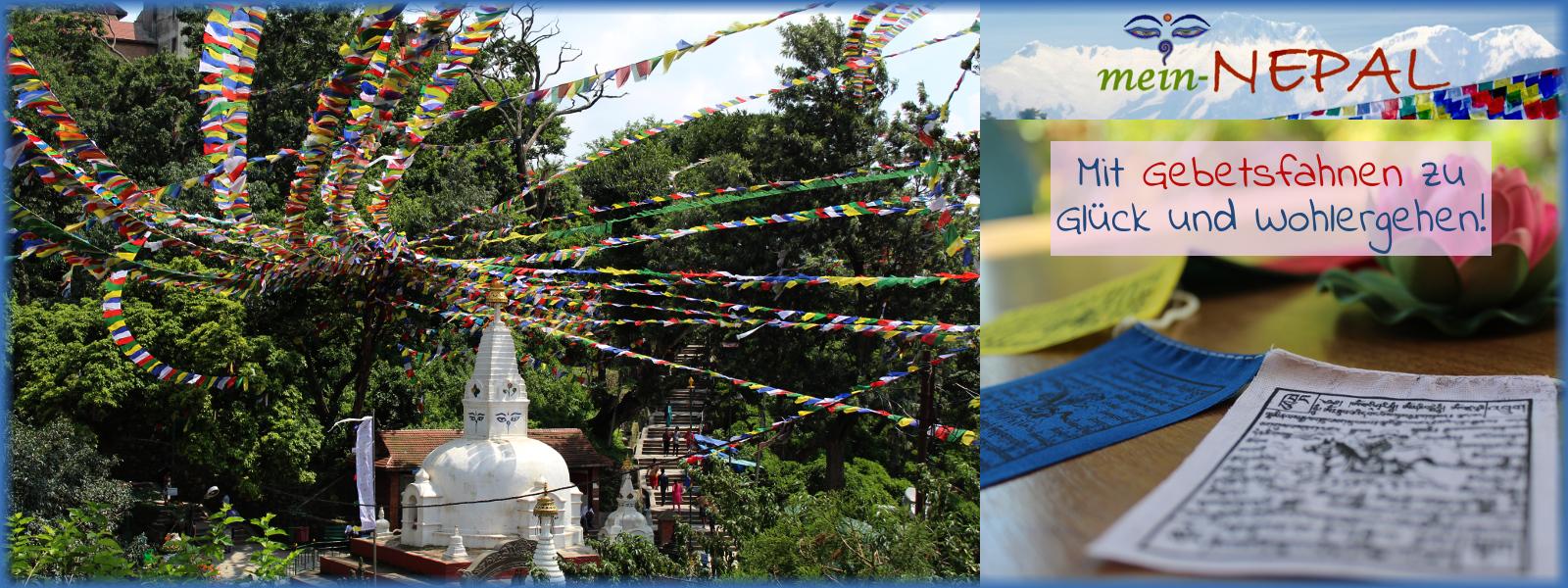 Farbenfrohe Gebetsfahnen für mehr Glück und Wohlergehen.