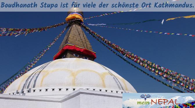 Um Boudhanath Stupa herum hat sich die tibetische Gemeinde niedergelassen.