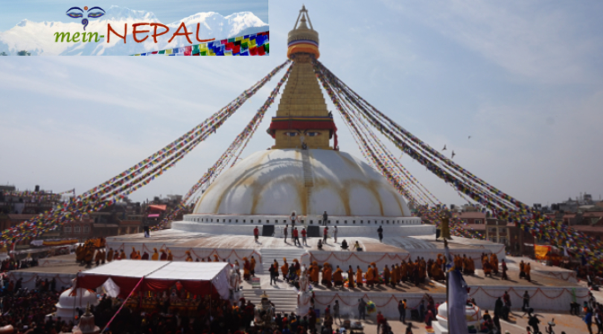 Boudhanath Stupa - Zentrum des tibetischen Buddhismus in Kathmandu, Nepal.