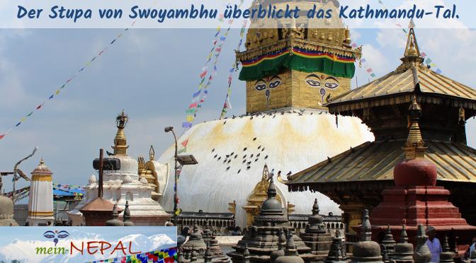 Swayambhu hat nach Boudha den zweitgrößten Stupa.